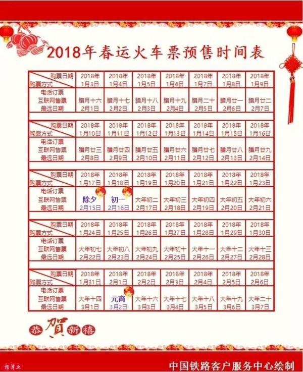2018春运火车票预售时间表